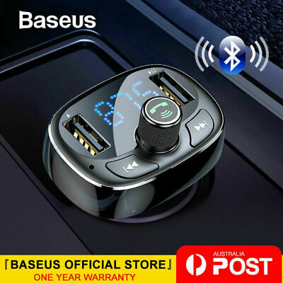 Baseus Handsfree Wireless Bluetooth Car Kit FM Transmitter MP3 Player USB Charge