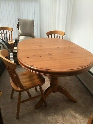 Antique Pine Pedestal Dining Table & 6 Chairs