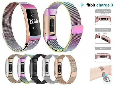For Fitbit Charge 3 Strap Replacement Milanese Band Stainless Steel Magnet UK