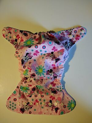 SassyCloth one size pocket diaper with Minnie and flowers cotton print.