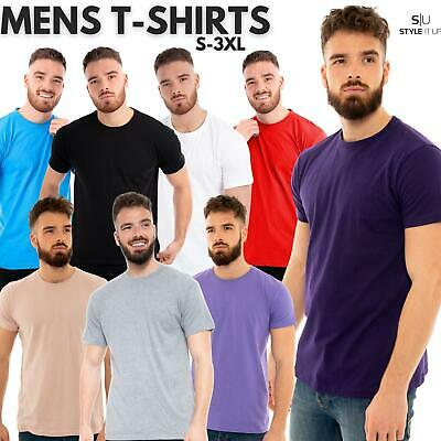 Mens Crew Neck T Shirt Base Layer Top Tee Short Sleeve Plain Summer Casual Style