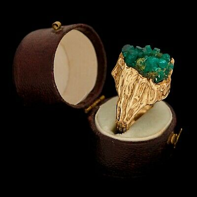 Antique Vintage Deco Mid Century 18k Gold Brutalist Colombian Emerald Ring Sz 7