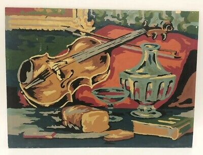 """Vintage Paint By Number Still Life Musical Interlude Violin 12.5"""" X 9.5"""""""