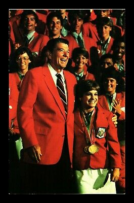 Dr Jim Stamps Us President Ronald Reagan Meets Olympic Team Los Angeles Postcard