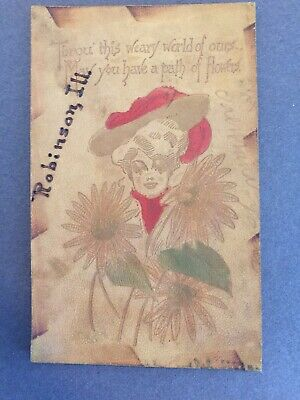 1907 Antique Leather Postcard Free Shipping
