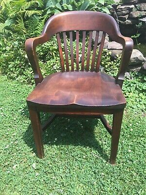 Antique Jury Lawyer Banker Chair Oak Manhattan Desk Co Arm Chair Office