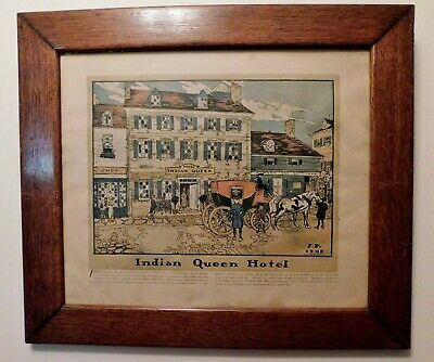Antique Framed Indian Queen Hotel Robert Smith Ale Brewing Co. Lithograph