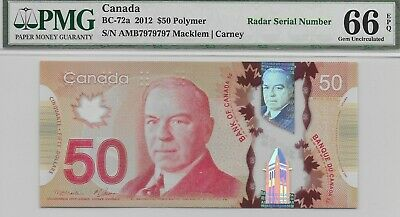 Canada 2012 $50 BC-72a 2 Digit Repeating Radar AMB7979797 PMG 66 GemUnc EPQ