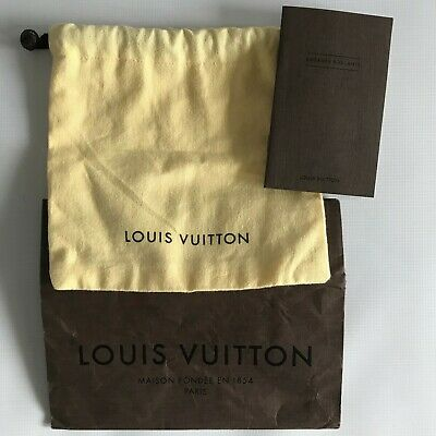 """Louis Vuitton Small Yellow Pouch (Approx 8"""" x 8"""") + Gift Bag + Booklet + 2 Cards"""