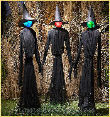 Set of 3 Lighted Witches Color Changing Haunted House Halloween Prop Decor 60""