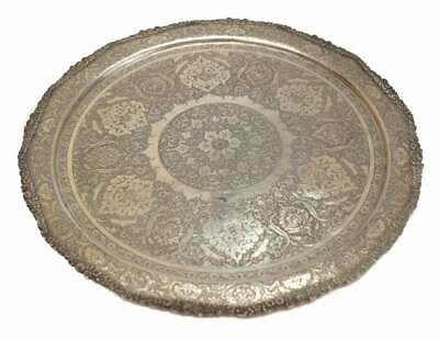 Ornate Middle Eastern Round Silver Tray, 1st Half 20th Century. Engraved Florals