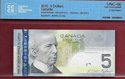Canada 2010 $5 BC-67b-i 2 Digit Repeating Radar HPL3737373 CCCS GemUnc 66