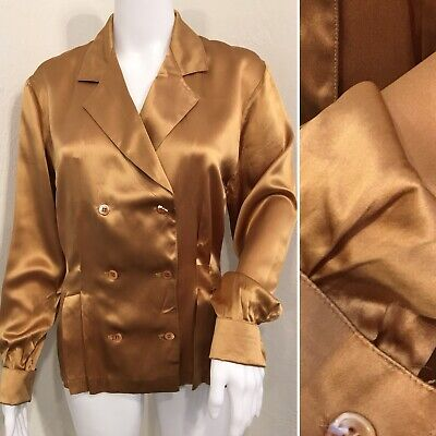 OLEG CASSINI Gold Silk Vintage Blouse Shirt Size 6 Long Sleeve French Cuff
