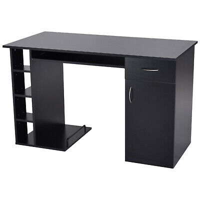 Computer Desk PC Workstation Table with Storage Shelves Drawer Keyboard Tray BK
