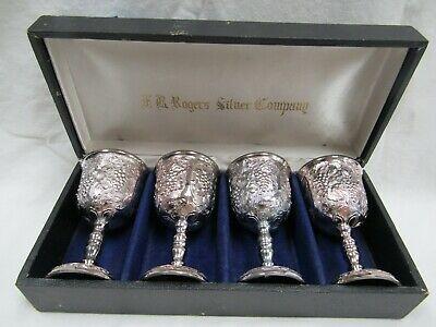 RARE AR Rodgers Silver Company set of 4 Silver plated Mini Goblets Chalices
