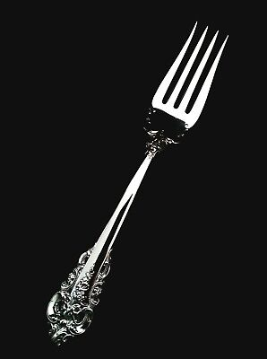 """Wallace Sterling Silver Grand Baroque  Large Serving Fork - 8 1/8""""  MINT!"""
