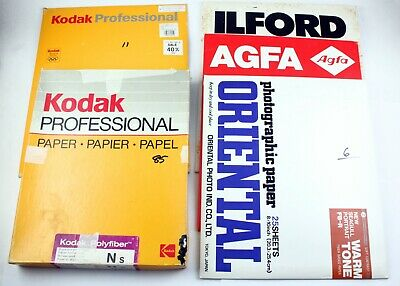 "195726 Mixed Lot of *EXPIRED* 8x10"" Fiber-Based B&W Photo Papers Various Brands"