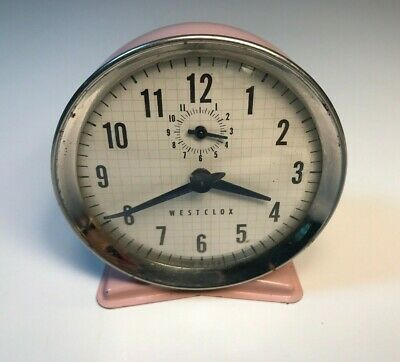 Vintage Westclox Retro 1950s Wind Up Mechanical Pink Alarm Clock - USA Made