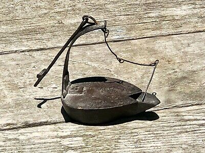 Nice Primitive Antique 1800's Wrought Iron Betty Lamp—Grease—Fat—Whale Oil