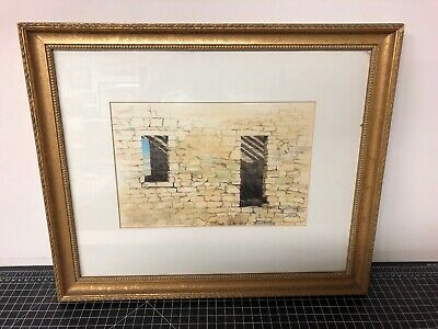 """Original Watercolor Painting Signed Framed Marilyn Hughes 1991 Window 18x15"""""""