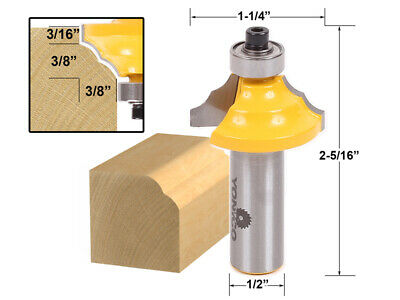 "3/8"" Double Round Over Edge Forming Router Bit - 1/2"" Shank - Yonico 13130"