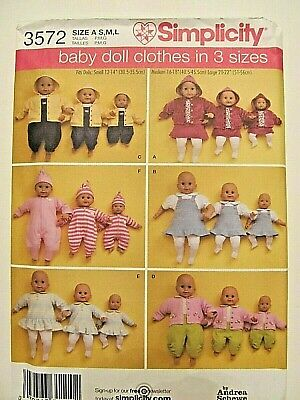 Simplicity 3572_BABY Doll Clothes Pattern_Multi-Size 12-14_16-18_20-22_OOP_UNCUT