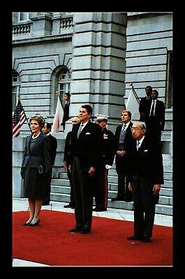 Dr Jim Stamps Us Nancy President Reagan Emperor Hirohito Political Postcard