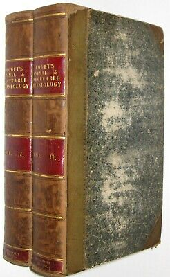 LEATHER Set;ANIMAL PHYSIOLOGY!BOTANY Anatomy Gray's Medicine(FIRST EDITION!)1834