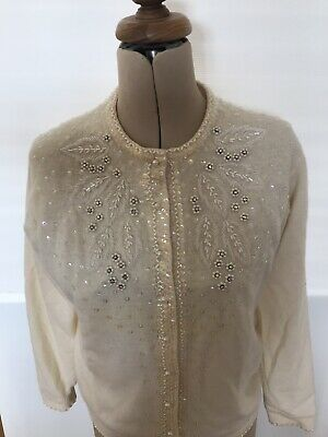 1950's Vintage Retro Beaded Wool Jumper Rare!❤️ Beautiful! Size S