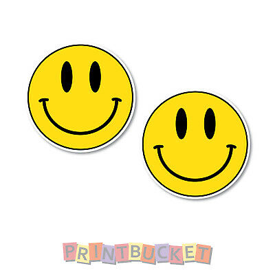 Smiley Face stickers 60mm h - 2 pack quality water & fade proof vinyl laptop
