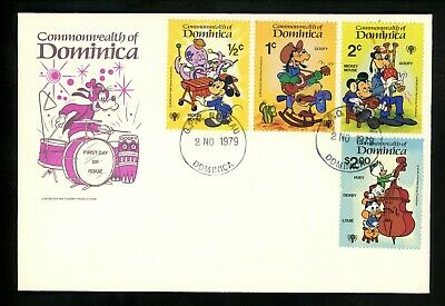 Postal History Dominica FDC #644-652 SET OF 2 Disney Music Instruments 1979