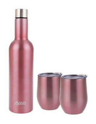 Oasis Wine Traveller Kit Set Bottle with 2x Tumbler Double Wall Insulated Rose