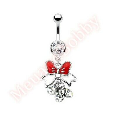 Bow Ribbon Navel Belly Button Bar Ring Dangle Body Piercing Jewellery