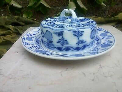 Meissen China BLUE ONION Round  Butter Dish COVER w/ Villeroy & Boch Dish