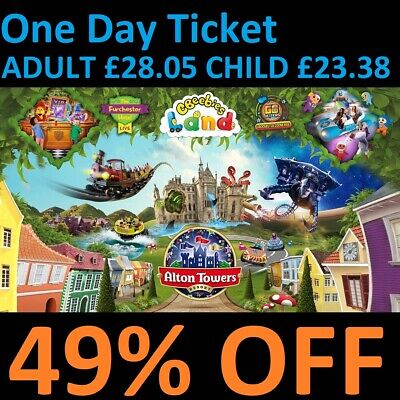 ALTON TOWERS Discount Tickets 49% OFF 1 Day Ticket £28.05 VALID EVERY DAY SAVE £