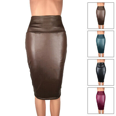 Women Faux Leather Knee Length Pencil Pencil Bodycon Leather High Waisted Skirt