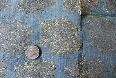 "Antique Italian Or French Renaissance Blue Silk Silver Metallic Fabric~11""X19"""