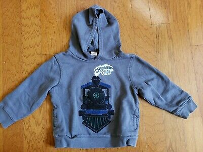 Gymboree Boys Toddler Railroad Train Locomotive Blue Gray Hoodie Size 2T - 3T