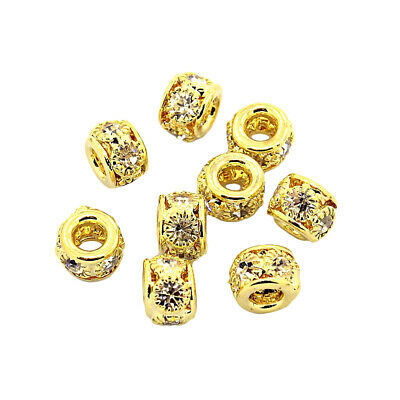 50pcs Brass Paved Rhinestone Metal Beads Hollow Gold Rondelle Loose Spacer 8x6mm