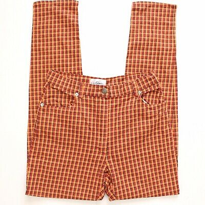 Vintage 90's Orange Red Brown Checkered Gingham Jeans S Small 26 27