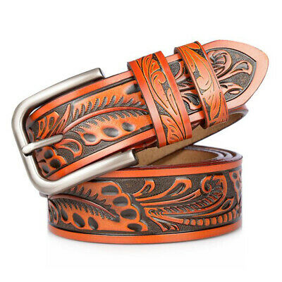Men Genuine Leather  Belt Classic Retro Pin Buckle Strap For Jeans Men Waistband