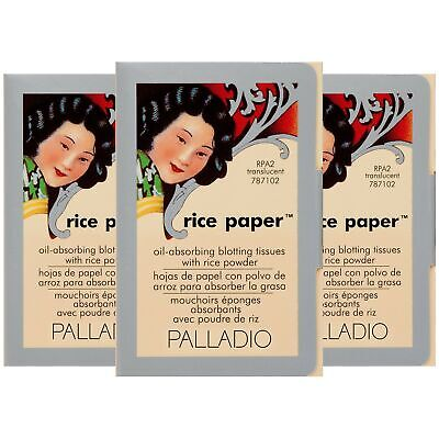 Palladio Rice Paper Tissues, Translucent, 40 Sheets (Pack of 3), Face Blottin...
