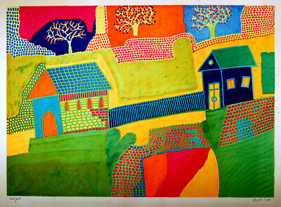Jewish HAND SIGNED Hebrew NAIVE ART LITHOGRAPH Yeshayahu SHEINFELD Numbrd ISRAEL