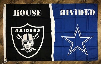 """Oakland Raiders vs Dallas Cowboys NFL """"House Divided"""" Flag 3x5 ft Sports Banner"""