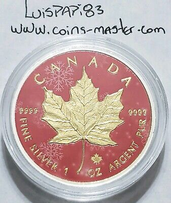 2016 1 Oz Silver $5 Canadian SNOW MAPLE Coin WITH 24K GOLD GILDED.
