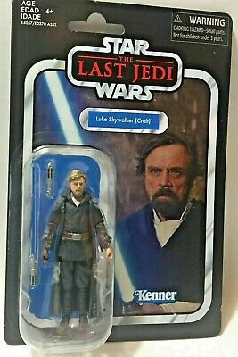 "STAR WARS Vintage W7 LUKE SKYWALKER VC146 Last Jedi 3.75"" Figure Creased Card"