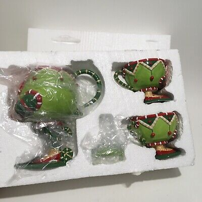 Department 56 Krinkles Christmas Tea Set Teapot 2 Cups Green Red White Box USED?