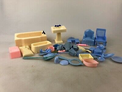 Plastic Dolls House Furniture - Mixed Lot - Vintage - Fridge, Chairs +++