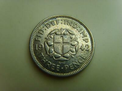 1942 SILVER THREE PENCE 3d KING GEORGE VI BRITISH COIN GREAT BRITAIN THREEPENCE