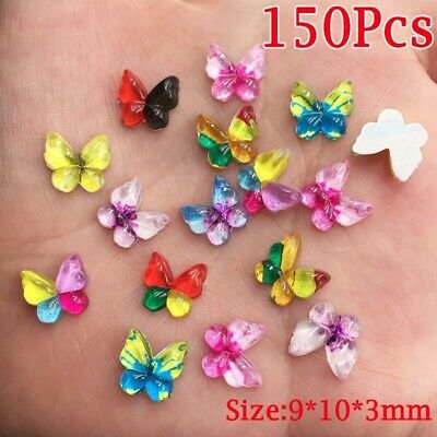 150Pcs Mix Resin DIY Crafts 10mm Colorful Appliques Scrapbook Butterflies Beads
